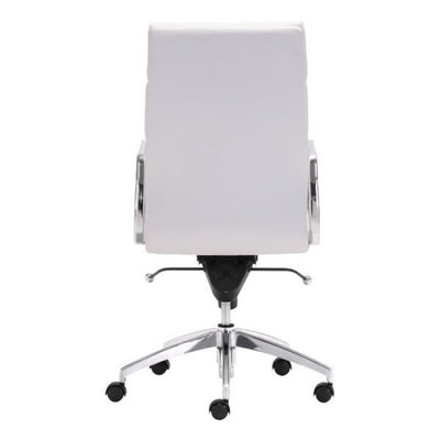 Timeless High-Back White Leatherette Office Chair