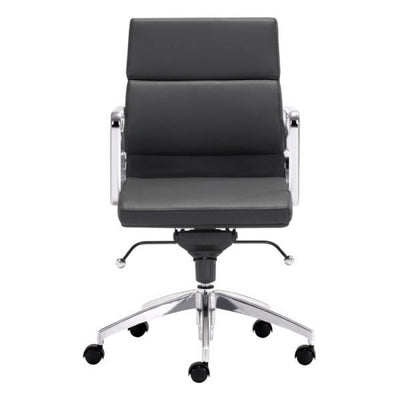 Timeless Low-Back Black Leatherette Office Chair