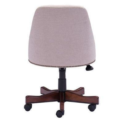 Powerful High-Back Executive Office Chair in Cream Leatherette