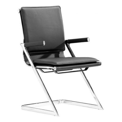 Ergonomic Black Chromed Steel Guest or Conference Chair (Set of 2)