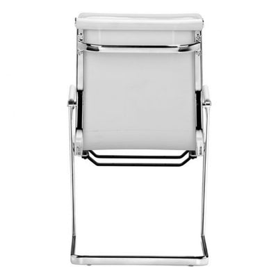 Ergonomic White Chromed Steel Guest or Conference Chair (Set of 2)