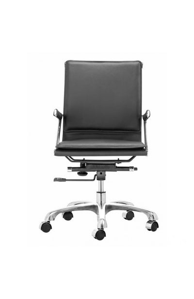 Modern Black Leather & Chrome Office or Conference Chair