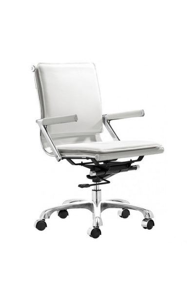 Modern White Leather & Chrome Office or Conference Chair