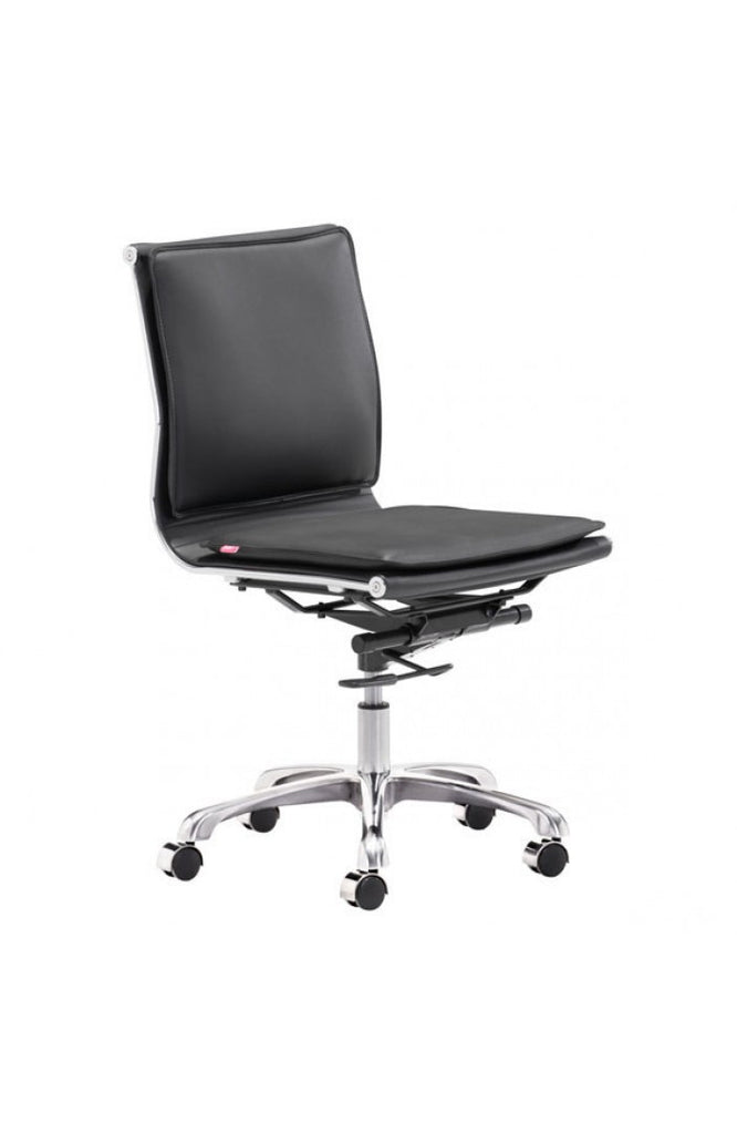 Modern Black Leather & Chrome Armless Office or Conference Chair