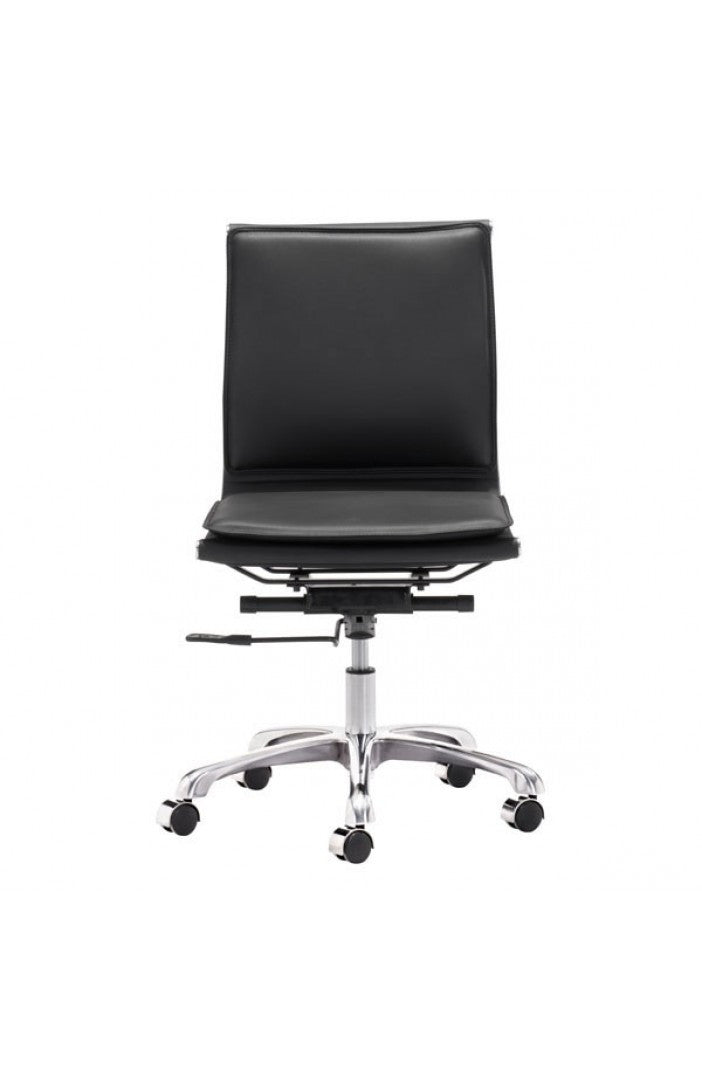 Modern Black Leather U0026 Chrome Armless Office Or Conference Chair