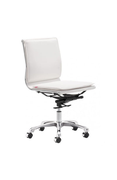 Modern White Leather & Chrome Armless Office or Conference Chair