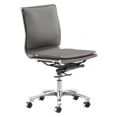 Rolling Mid-Back Office Chair in Charcoal Gray Leatherette
