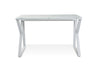 "Modern 47"" White Glass Writing Desk with Steel Base"