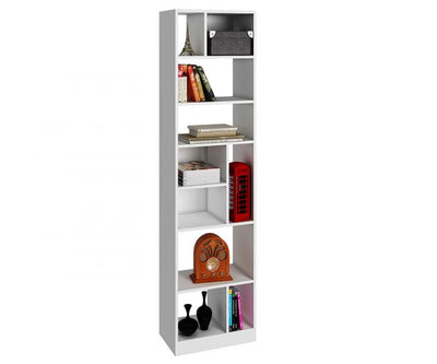 Contemporary Narrow White Bookcase