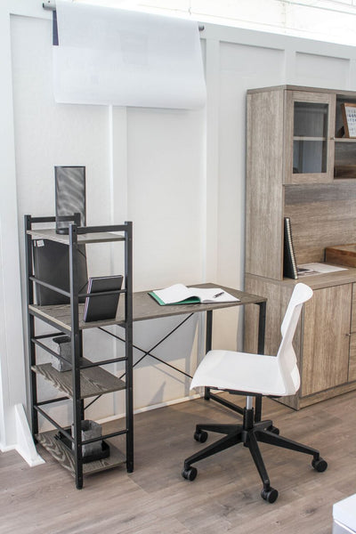 Modern Grey Desk w/ Built-In Bookcase