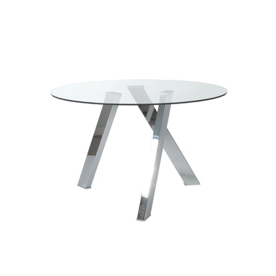 Modern Clear Glass & Brushed Stainless Steel Circular Meeting Table