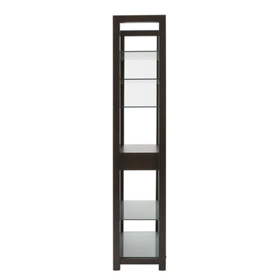 Classic Wenge Wood Bookcase w/ Glass Shelves