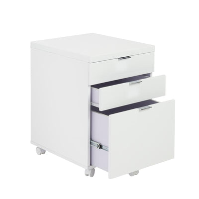 White Lacquer 3-Drawer Office Filing Cabinet