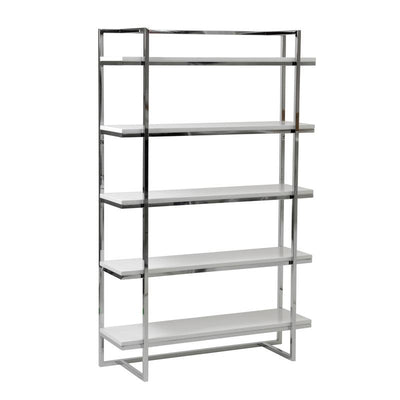 5-Shelf Exposed Steel Office Bookcase in White
