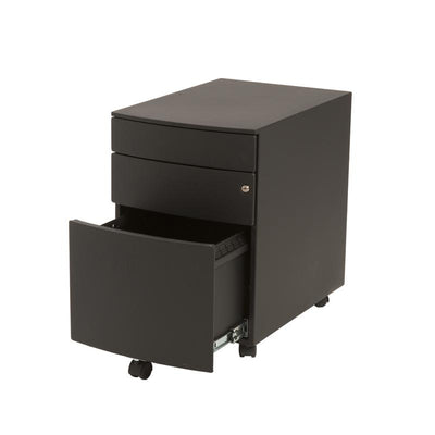 Premium Black Mobile File Cabinet with Lock from Euro Style