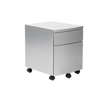 Sleek Silver Steel Rolling Office Filing Cabinet