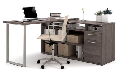 Set of 3: L-Shaped Desk, Lateral File & Bookcase In Bark Gray Finish