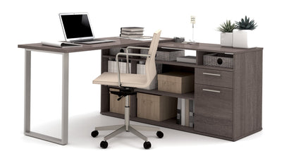 Modern L Shaped Desk With Integrated Storage In Bark Gray