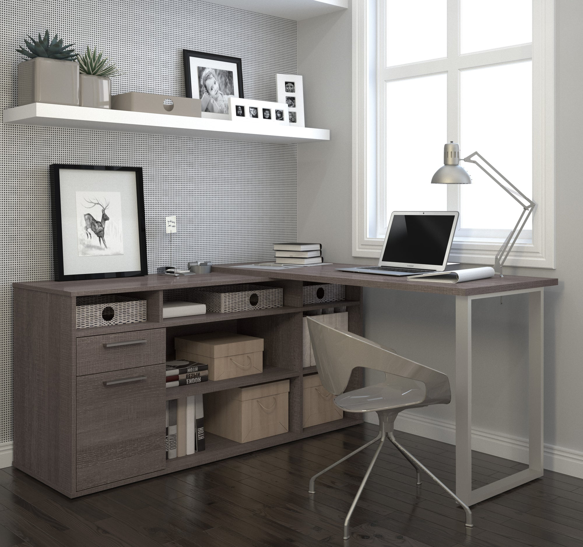 Modern L-shaped Desk with Integrated Storage in Bark Gray ...