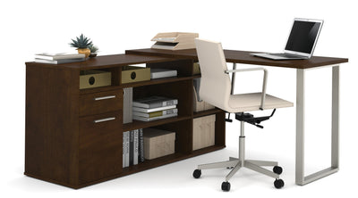 Set of 3: L-Shaped Desk, Lateral File, & Bookcase In Chocolate Finish