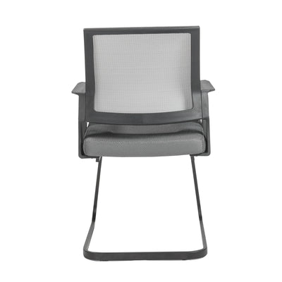 Gray Mesh and Matte Black Guest or Conference Chair
