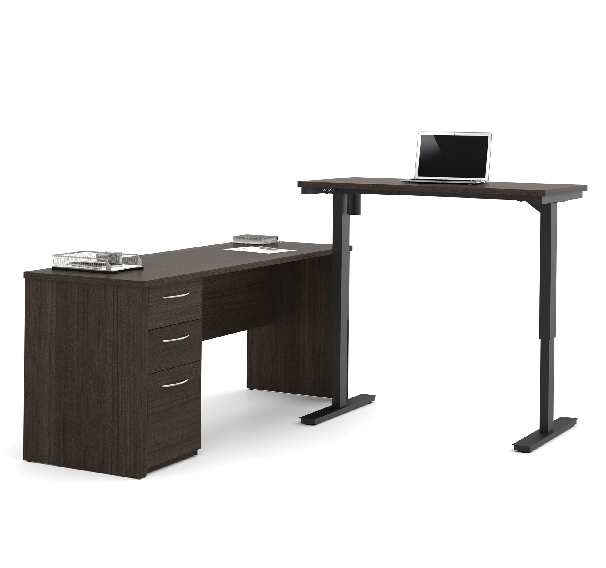 Dark Chocolate L Shaped Desk With Adjustable Height And Drawers    OfficeDesk.com