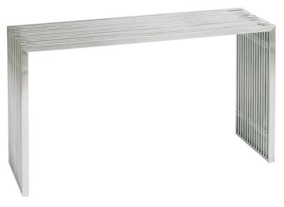 "48"" Executive Desk in Brushed Stainless Steel with Glass Top from Nuevo"
