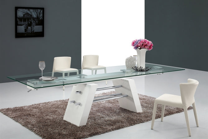 "79"" - 116"" Glass Conference Table with Unique White Lacquer & Chrome Base"