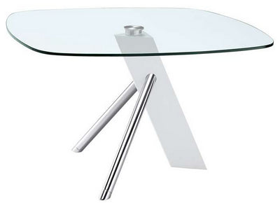 "47"" Square Glass Conference Table or Desk with Modern White & Chrome Base"