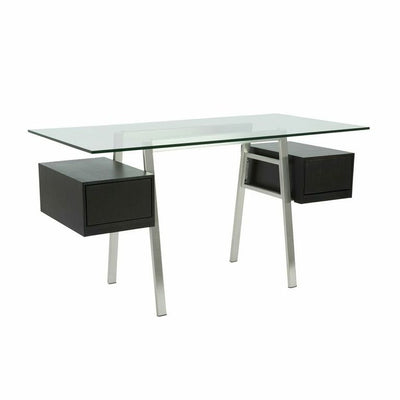 Modern Glass Executive Desk with Brushed Stainless Frame & Wenge Drawers
