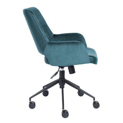 Blue Velvet & Black Leather Tilting Office Chair