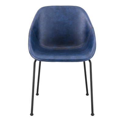 Vintage Dark Blue Leatherette Guest Chair (Set of 2)