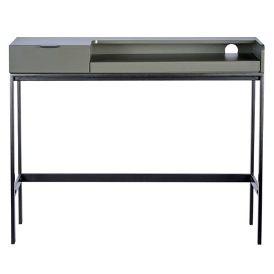"35"" Gray & Black Powder-Coated Steel Office Desk"