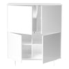White Lacquer Square Office Bookcase w/ Doors