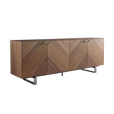 "71"" Executive Desk in American Walnut and Brushed Stainless Steel"