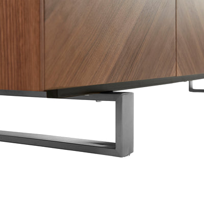 "Stylish 79"" Storage Credenza in American Walnut and Brushed Stainless Steel"
