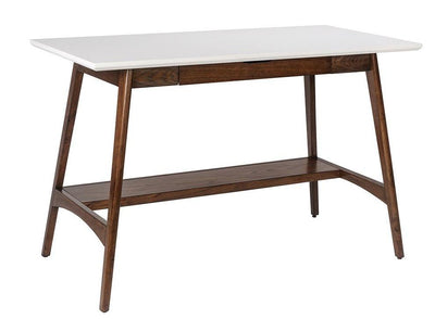 "48"" White & Pecan Desk with Central Fold-Down Drawer"