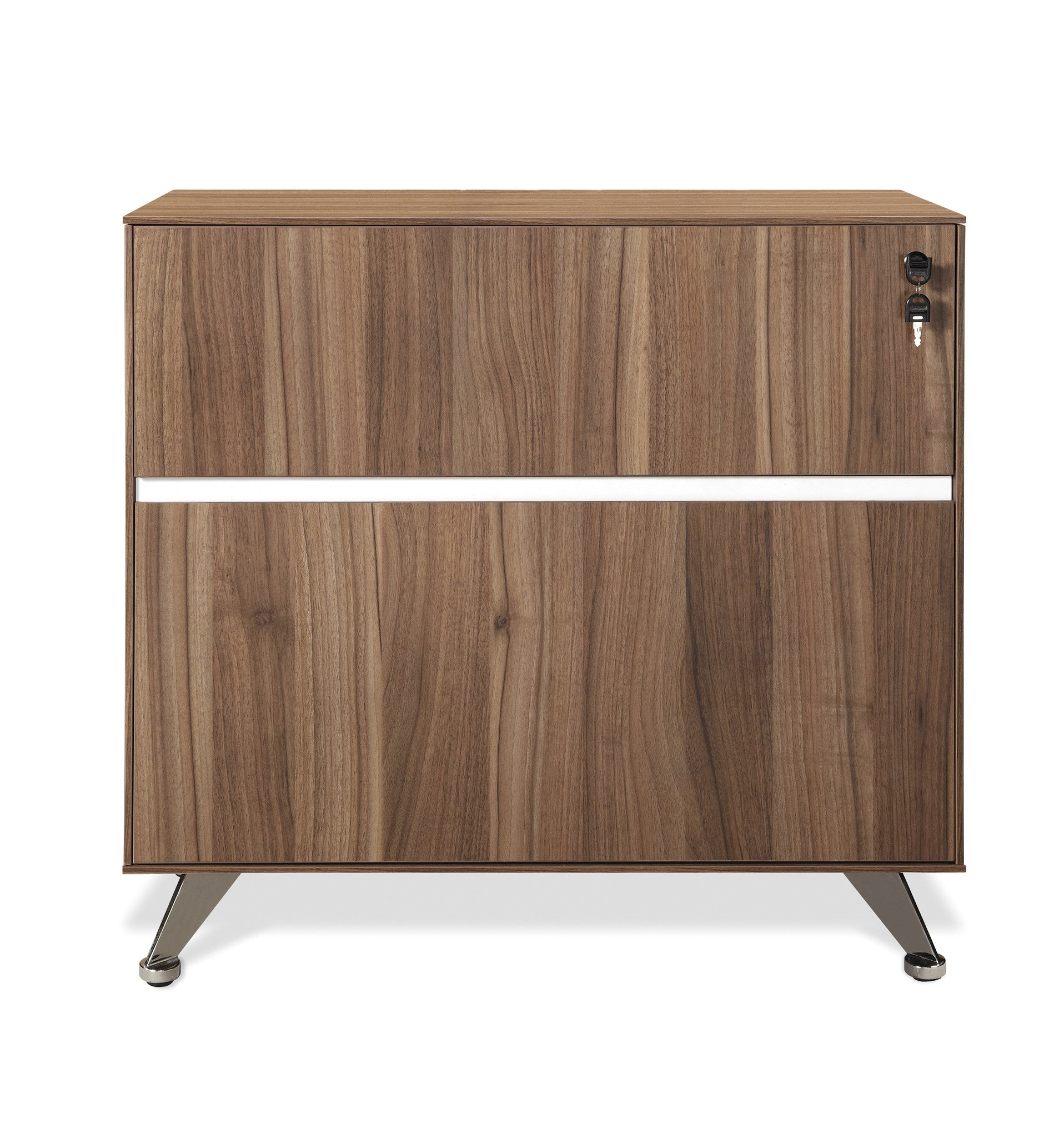 Modern 300 Collection Locking File Cabinet In Walnut Assembled
