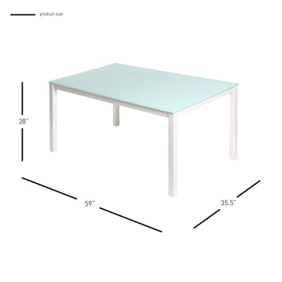 "59"" Classic White Office Desk w/ Tempered Glass Top"