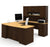 Manhattan Collection U-shaped Desk in Chocolate & Maple with Hutch Included