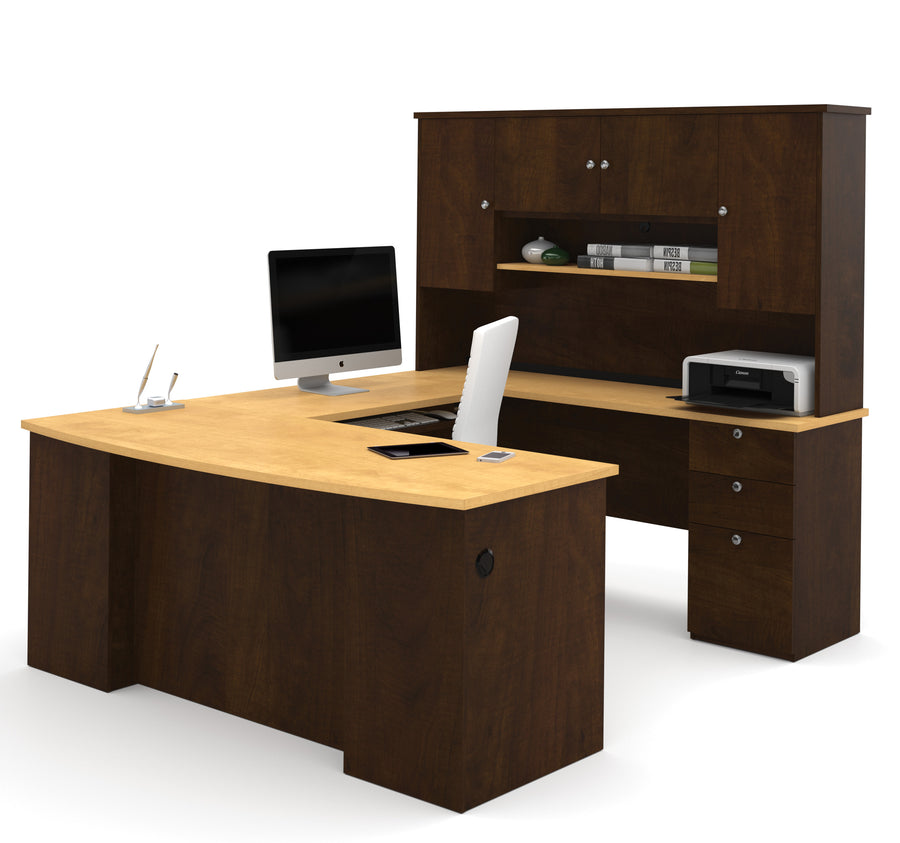 Delicieux Manhattan Collection U Shaped Desk In Chocolate U0026 Maple With Hutch Included