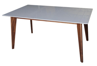"Simple 63"" Office Desk with Gray Top & Walnut Legs"