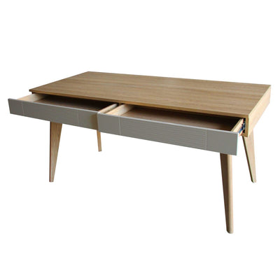 "59"" Teak Office Desk in Cream"