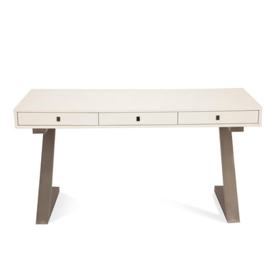 "Modern 59"" White Office Desk with Brushed Stainless Z-Frame"