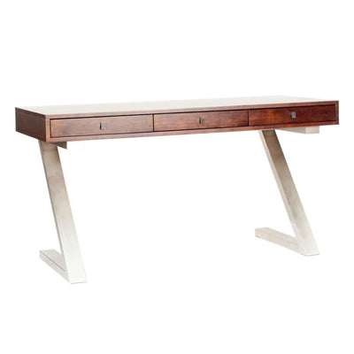 "Modern 59"" Mahogany Office Desk with Brushed Stainless Z-Frame"