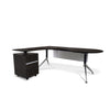 Modern Espresso L-shaped Teardrop Desk with Integrated File (Left Return)