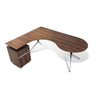 Modern Walnut L-shaped Teardrop Desk with Integrated File (Left Return)