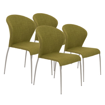 Simple Green Fabric Guest or Conference Chairs (Set of 4)