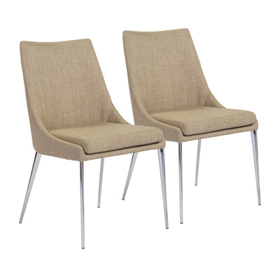 Tan Fabric Guest or Conference Chair w/ Removable Cushion (Set of 2)