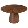 "53"" Walnut Meeting Table with Round Top and Pedestal Base"